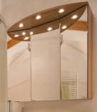 3D-Spiegelschrank Bad, Halogenleuchten Badezimmer, Pia, Prisma, Kirschholz, Spiegelschrank, Licht